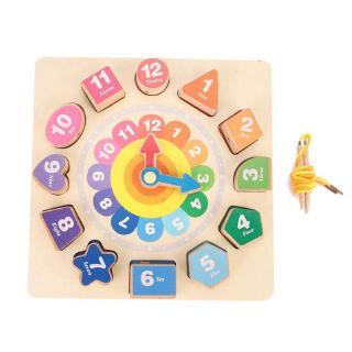 Havashop DIY Colorful Wood Beading Toy Set Beads String Cute Clock Shape Educational