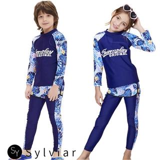 SR Kids Boys Girls Quick Dry Sunscreen Long Sleeve Swimwear Pants Shorts Set