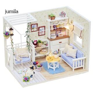Mô hình đồ chơi nhà búp bê 3D mini đèn LED DIY thiết kế thủ công thumbnail