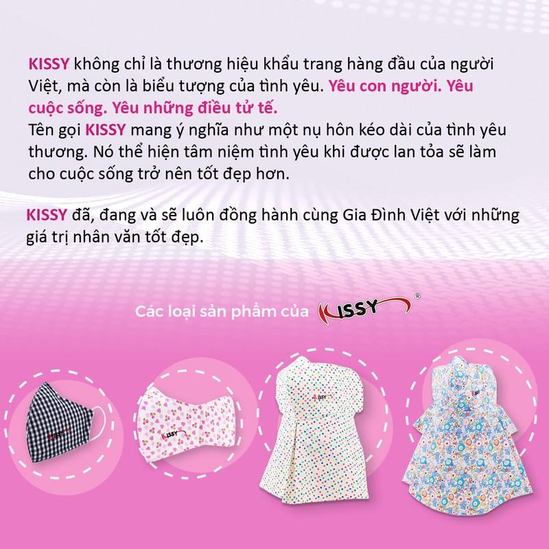 Khẩu trang vải Kissy 3 lớp sợi thuộc tính  size M cho nữ họa tiết hoa chống nắng - chống bụi mịn