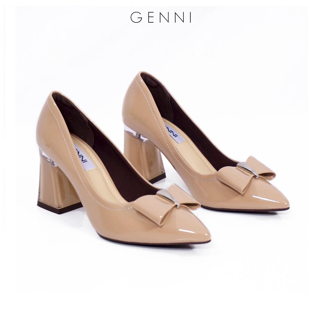 Giày cao gót nơ bóng đế mika 7p GE433 - Genni