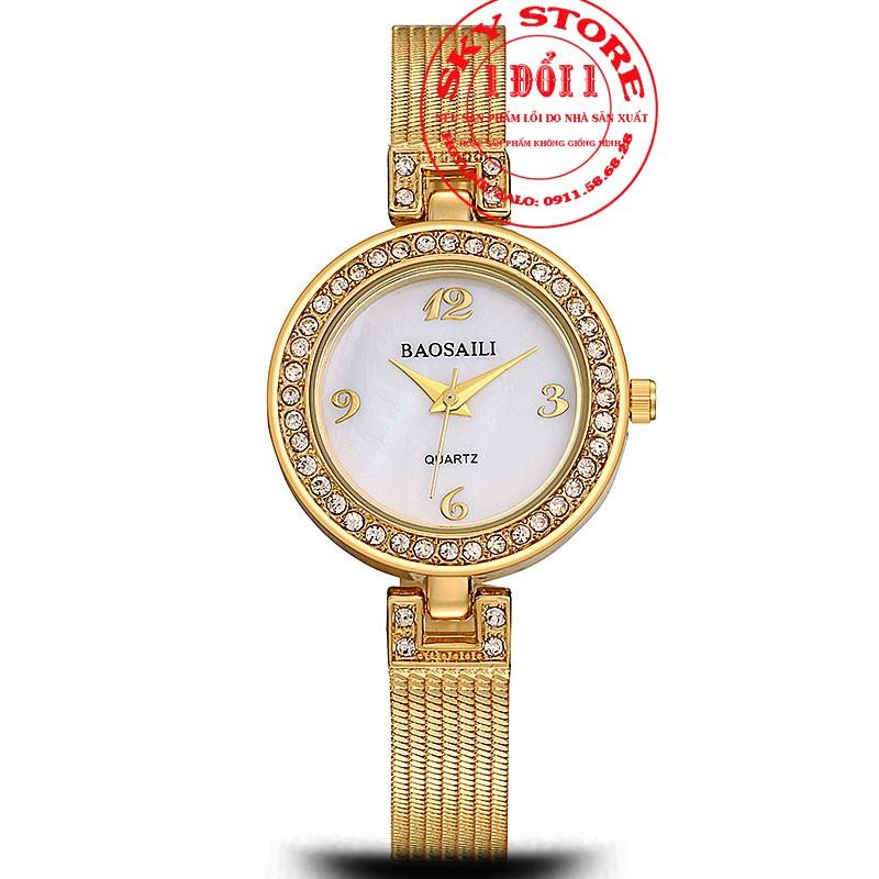 Đồng hồ nữ Baosaili B1819 mặt tròn dây thép không gỉ
