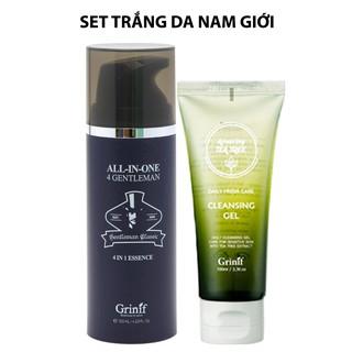 Bộ sản phẩm Kem dưỡng trắng Nam giới Grinif All In One 4 Gentleman 120ml và Gel rửa mặt Grinif TeaTree 100ml