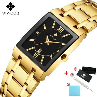WWOOR Men's Watches Waterproof Fashion Sport Stainless Steel Metal Quartz Watch Genuine Clock - 8858