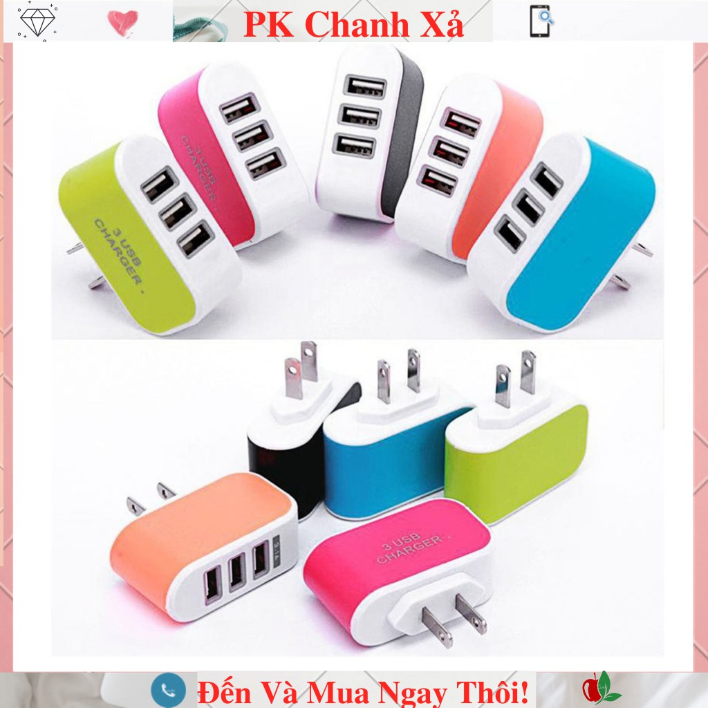 Cốc Sạc /Củ Sạc 3 cổng USB - 3.1A Nhiều Màu