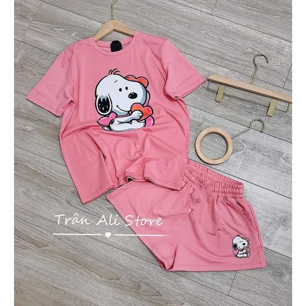Đồ bộ nữ [FREESHIP] Đồ bộ nữ chất cotton 100% hình in Chó Bunny xinh xắn