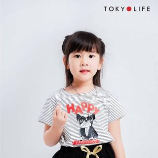 Áo Thun Bé gái TOKYOLIFE dáng dài vạt high-low ngắn tay kẻ sọc ngang E4TSH402E thumbnail
