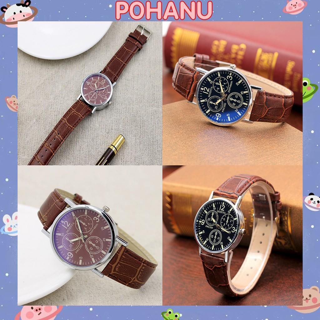 Đồng hồ Pohanu nam dây da đeo tay thời thượng thiết kế cao cấp DH97