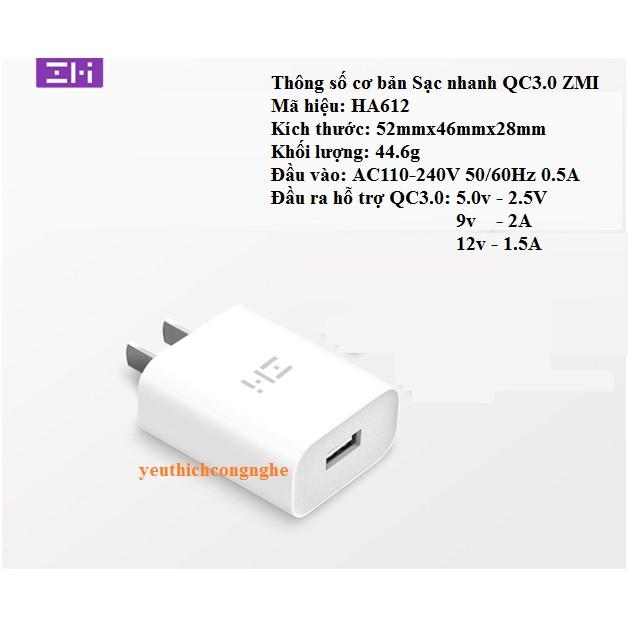 Củ sạc nhanh cao cấp QC3.0 Xiaomi-ZMI HA612