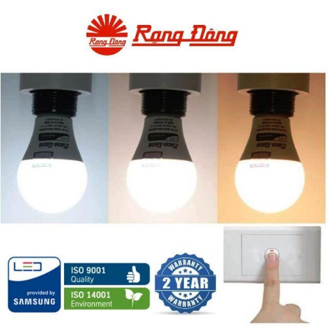 Bóng LED bulb đổi 3 màu (3 in1) 7W / 9W Rạng Đông, Samsung ChipLED