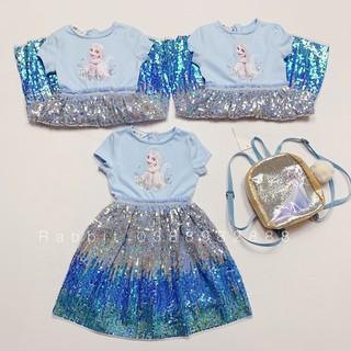 Váy công chúa xanh hồng - RABBITSHOP