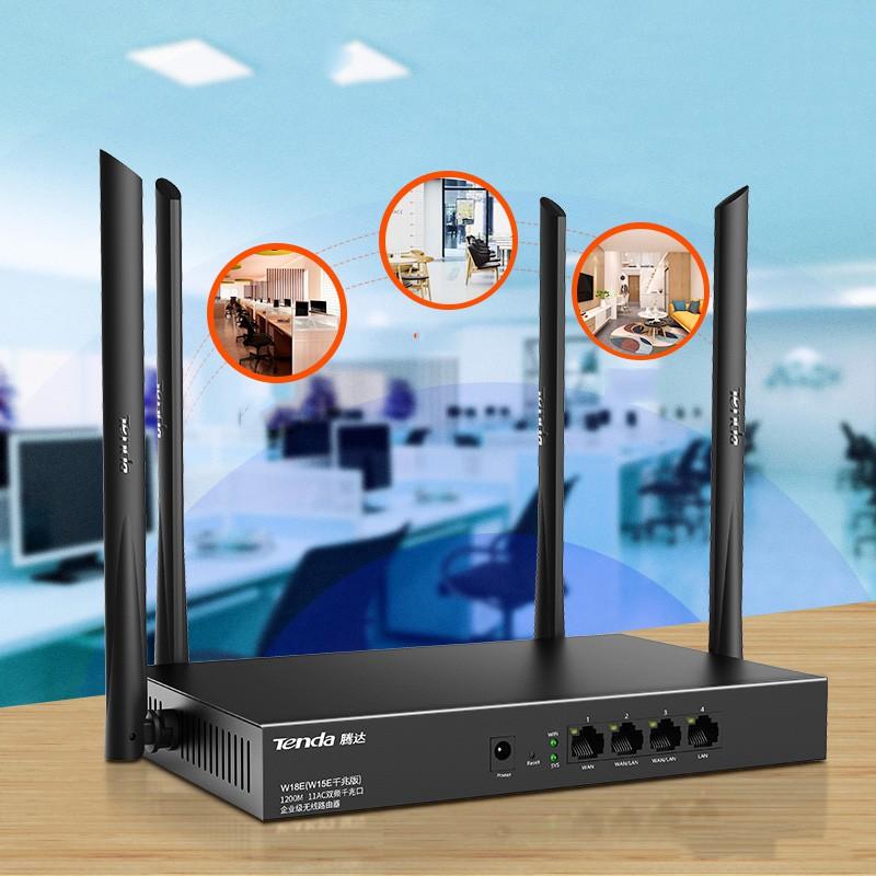 Bộ phát WIFI Tenda w15e ac1200Mps mạng doanh nghiệp 50 user - vùng phủ sóng 300m2 4 ăn ten phát sóng cực mạnh - nhập khẩ