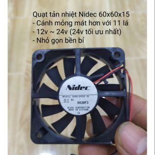 Quạt tản nhiệt Nidec 60x60x15 cánh mỏng 11 lá