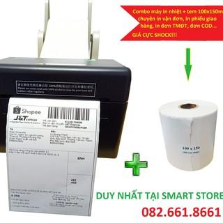 [HOT] Combo máy in + giấy in nhiệt in Shopee, in vận đơn TMĐT, in phiếu giao hàng khổ 100x150mm giá rẻ