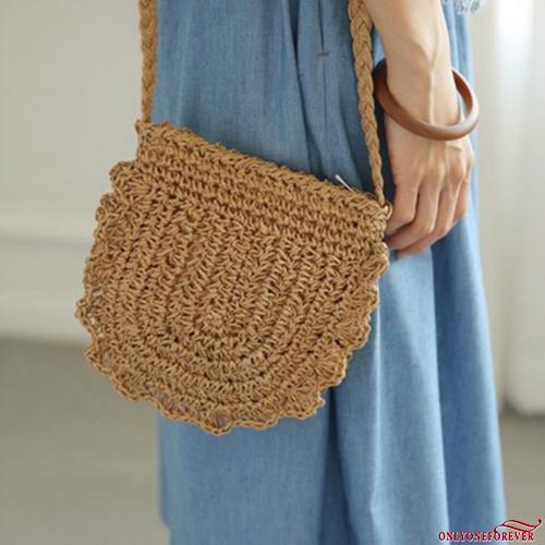 ★_★-Fashion Women´s Straw Bag Round Rattan Retro Handbags Beach Crossbody Tote