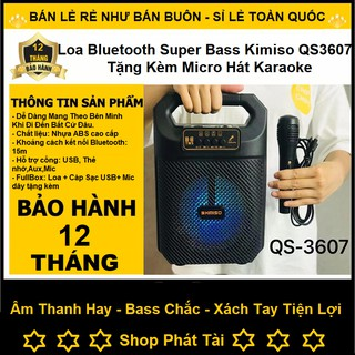 Loa Bluetooth Superbass Kimiso QS 3607 - Du Lịch Đa Năng - Tặng Kèm Micro Hát Karaoke - Bảo Hành 12 Tháng ( Cực Chất )