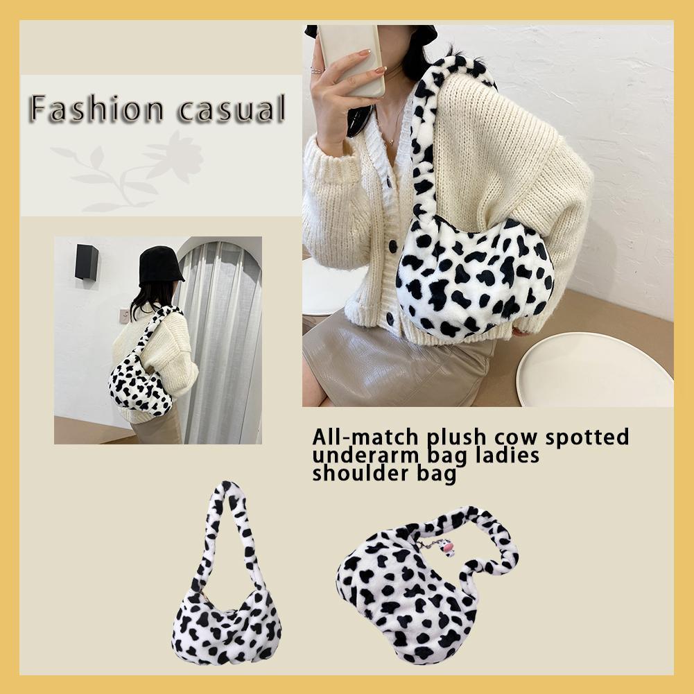 Túi đeo vai bằng lông nhung họa tiết bò sữa thời trang mùa thu cho nữ