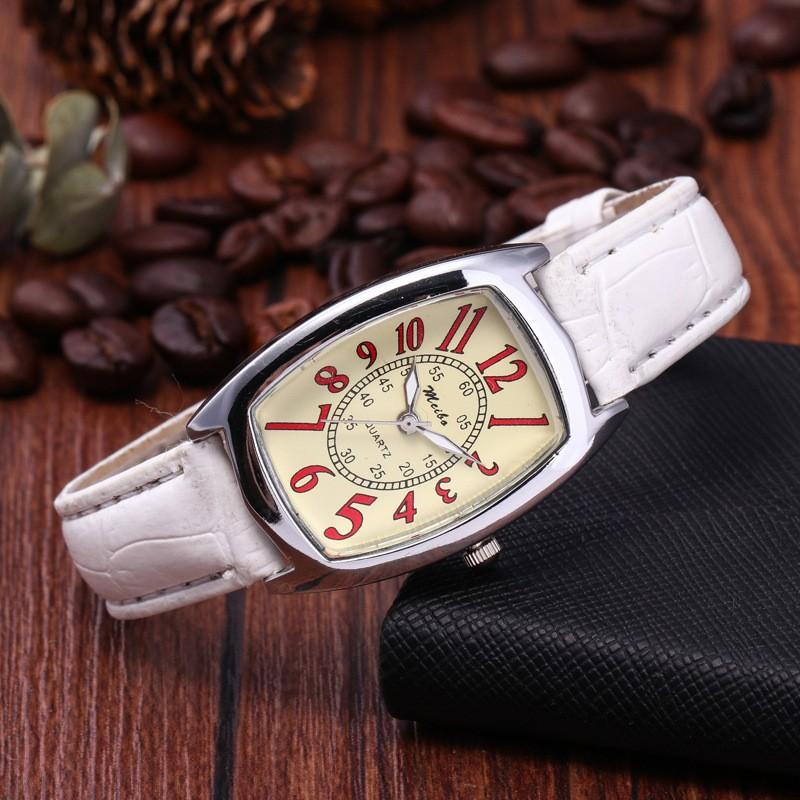 Đồng hồ nữ Meibo dây da chính hãng mặt số đỏ may mắn