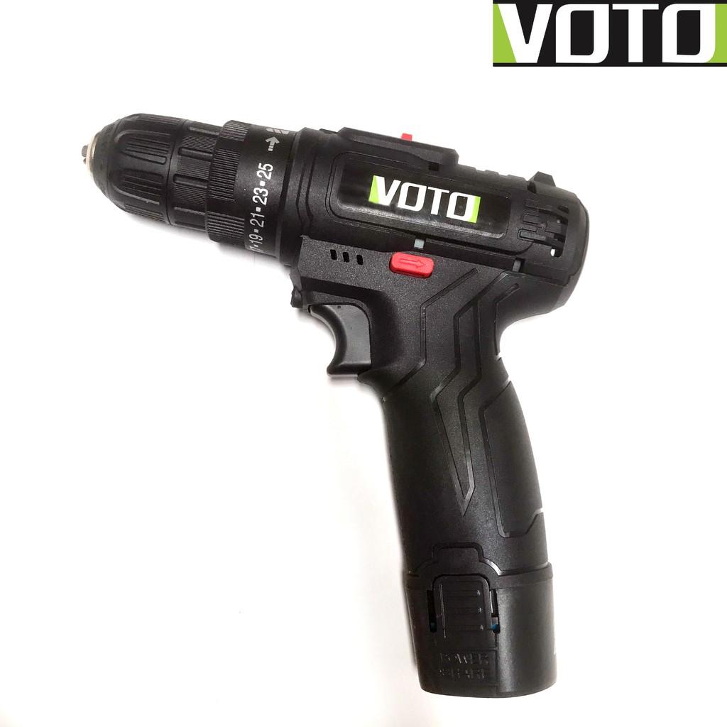 Khoan pin, máy bắt vít Voto 12v, 2 cấp tốc độ màu đen kèm hộp nhựa chính  hãng 179,000đ