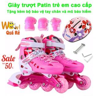 Giày Bánh Xe, Giày Trượt Patin Trẻ Em Cao Cấp Mẫu Mới PT-154 ( Tặng Kèm Bộ Bảo Vệ Tay Chân Và Mũ Bảo Hiểm)