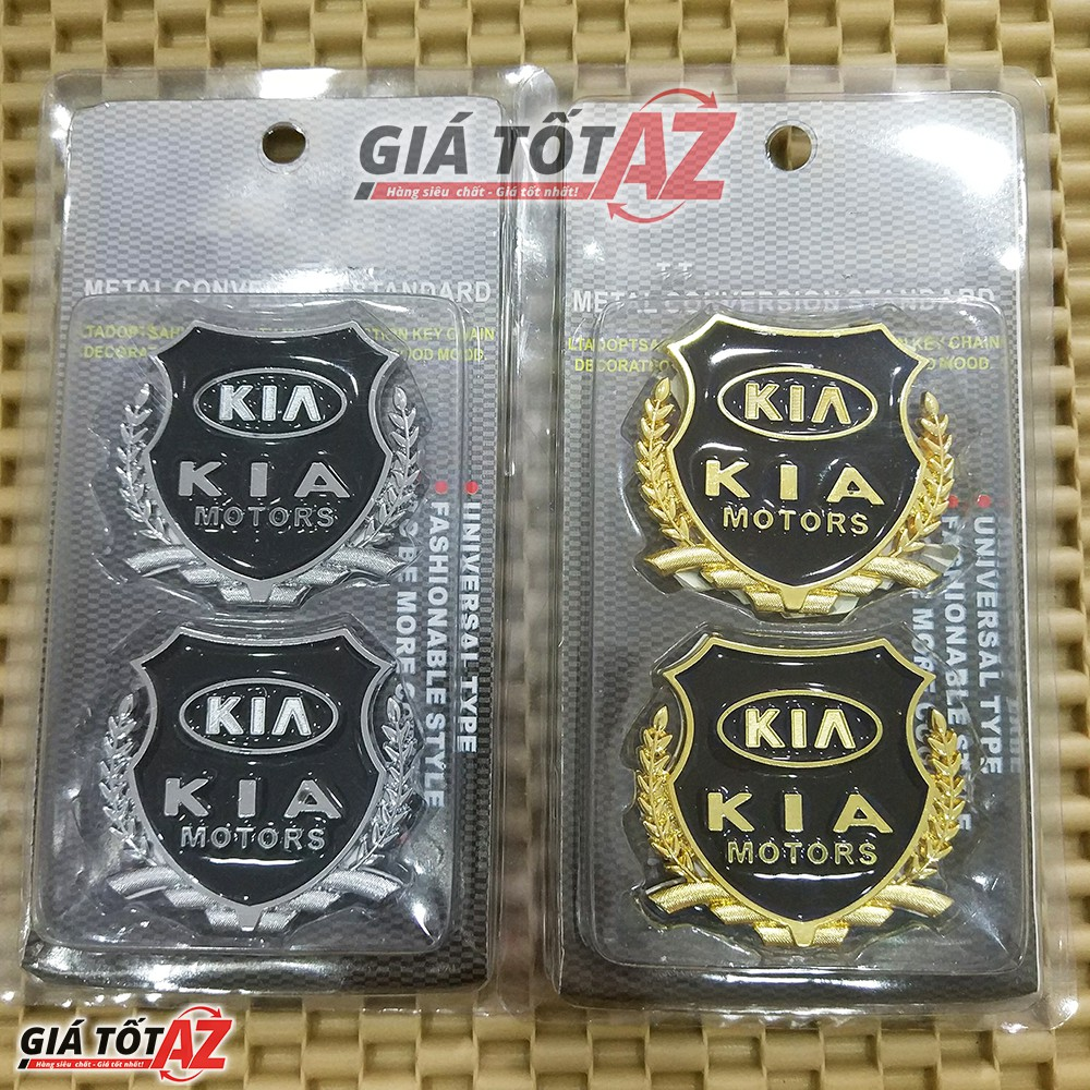 Bộ 2 huy hiệu logo K.I.A nổi 3D gắn xe ô tô loại cao cấp - Mầu bạc, màu vàng sang trọng
