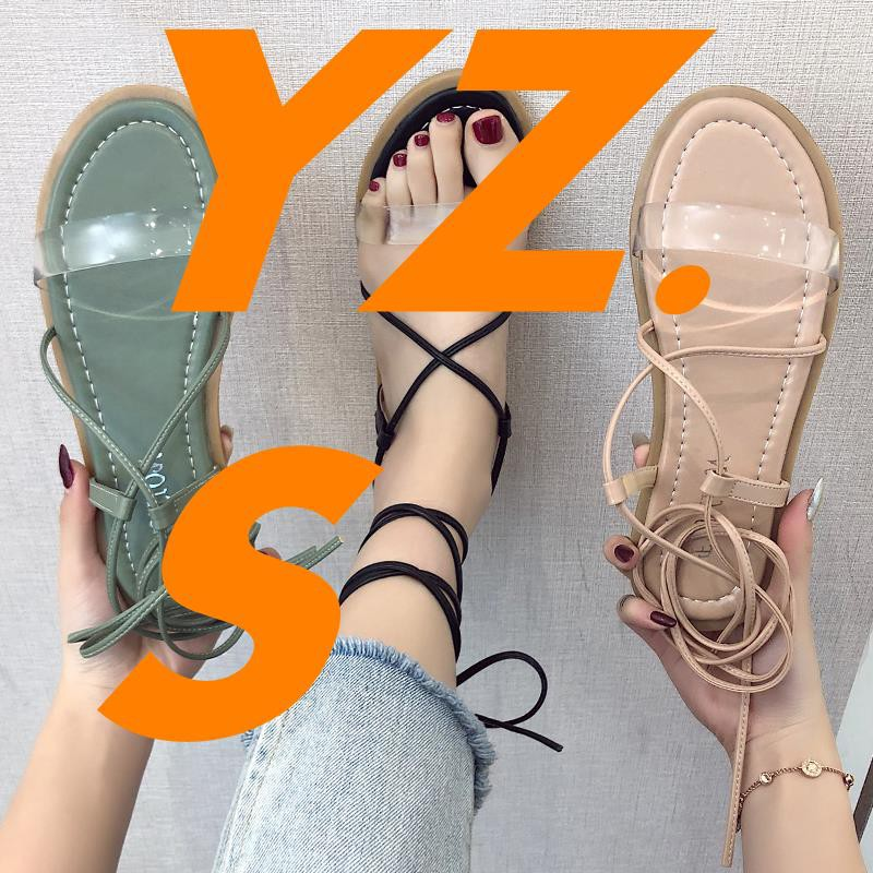 Sandals female ins tide shoes 2019 new student straps simple Korean version of the wild fairy transparent lace Roman sho