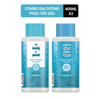 Combo dầu gội dầu xả muối biển detox tóc Love Beauty Planet 400ml chai