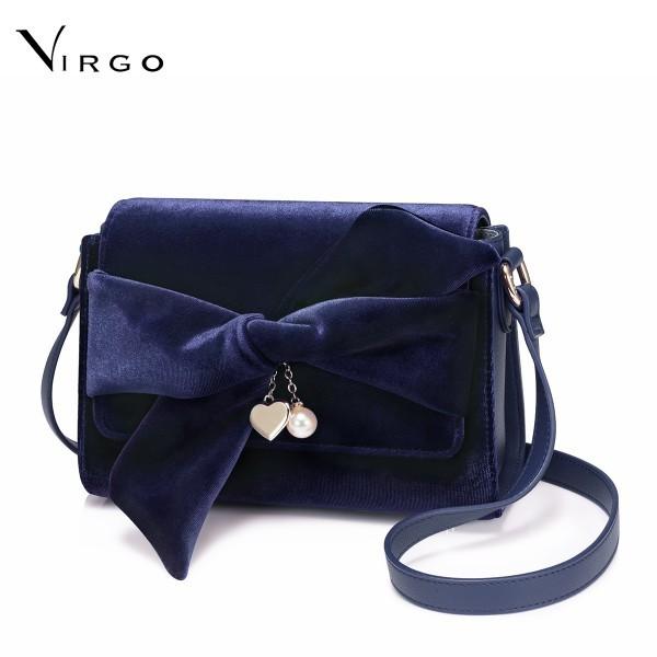 Túi nữ đeo chéo phối vải nhung VG319 (màu xanh)