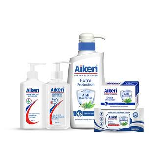 Aiken Trọn bộ Sạch Khuẩn Chiết xuất Trà Xanh Gel rửa tay + Nước rửa tay + Sữa tắm + Xà phòng + Khăn ướt thumbnail
