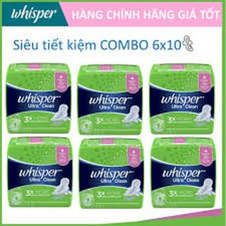 Combo 6 Băng Vệ Sinh Whisper Siêu Mỏng Cánh Cho Ngày Thường (10 Miếng)