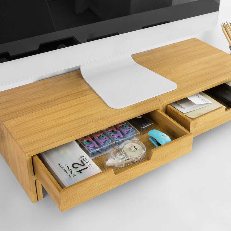 Kệ gỗ để màn hình máy tính 2 Học kéo FAS.PRI nâng màn hình lên đến 11cm / Giảm căng thẳng cổ / bàn làm việc gọn gàng