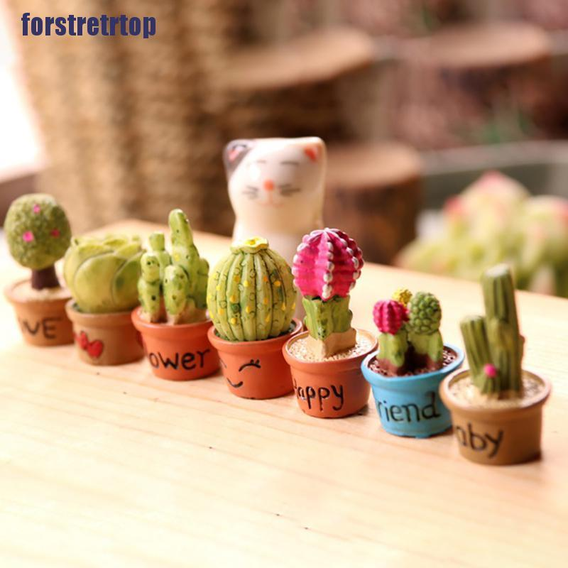 【FSTTTOP】5Pcs Miniature Succulent Plant In Pot For Dollhouse Furniture Decorat