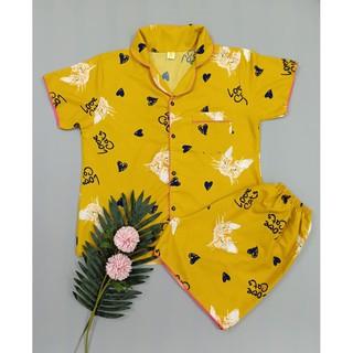 Bộ Đồ Ngủ Quần Đùi ,Áo Ngắn Vải Kate Thái Loại 1 – Mèo Vàng