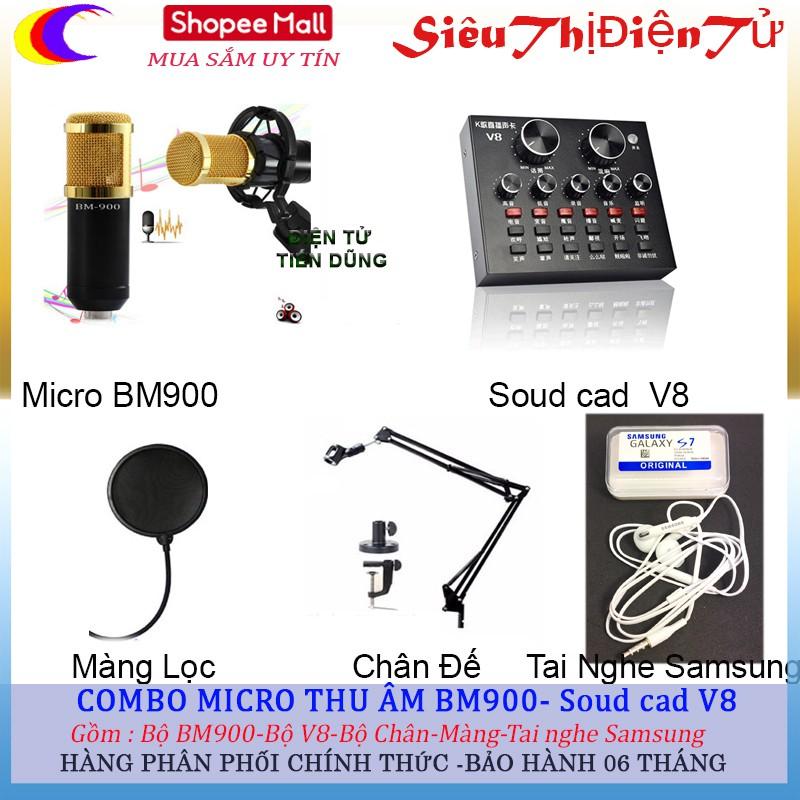 combo bộ BM900 dùng soud cad V8 (có chỉnh Auto-tune) Chân màng tai nghe samsun