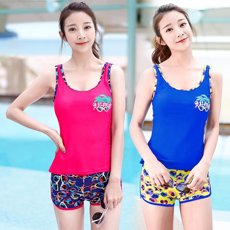 Swimsuit female split small chest gathered Korean sports swimsuit boxer covered