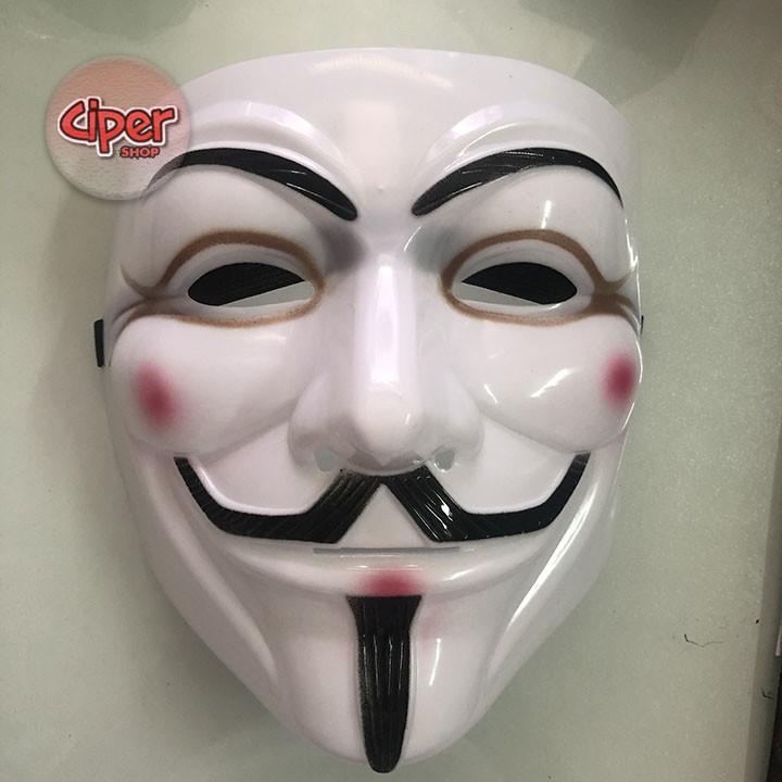 Mặt nạ hacker Anonymous Trắng Vàng Đen có viền