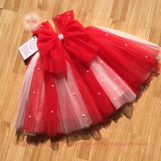 Đầm tutu cho bé ❤️FREESHIP❤️ Đầm tutu cho bé đỏ phối trắng nơ đính đá