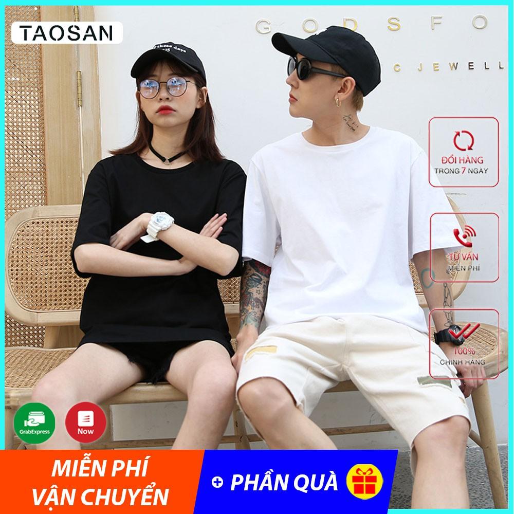 Áo Thun Trơn nam/nữ Tay Lỡ form rộng Taosan, kiểu unisex basic tee, áo phông oversize chất cotton