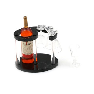 MT Champagne Bottle Wine Rack with Four Glasses 1:12 Doll's House Miniature NY