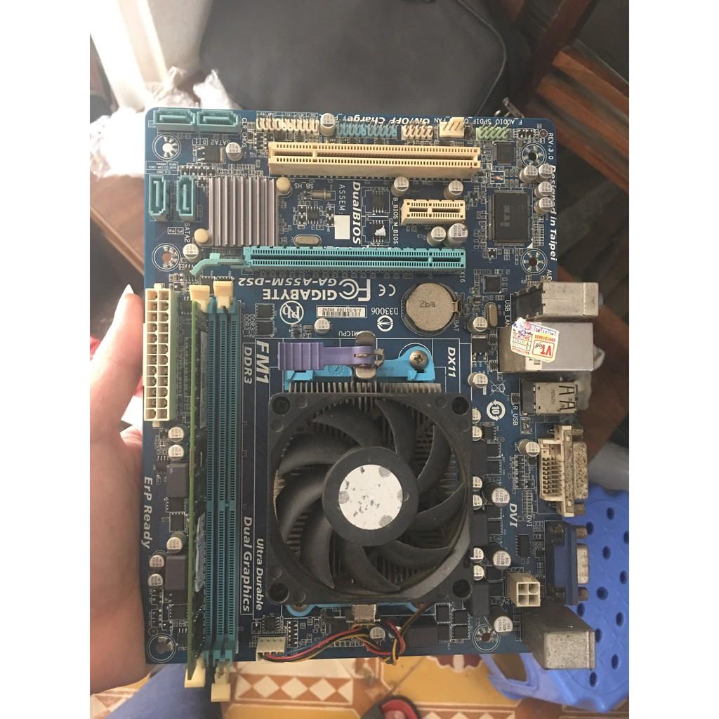 Combo Main Gigabyte A55 + Chip A4 3400 + Ram 3 2GB Hàng đẹp k fe Giá chỉ 850.000₫