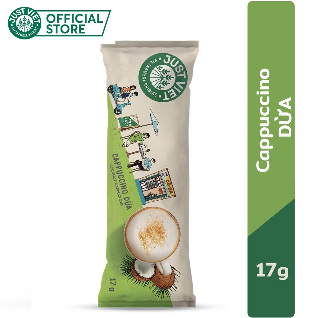 Cà Phê Cappuccino Dừa Just Viet - Đúng Điệu Gu Việt - Sánh Đậm Tự Nhiên - 17g