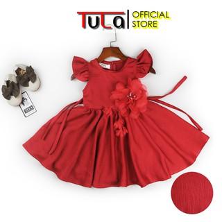 Váy Cho Bé Gái Vải Lụa Tằm Màu Đỏ Hoa Cài Cực Xinh Cho Bé
