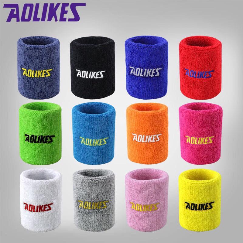 Chặn mồ hôi cổ Tay Aolikes chính hãng, Băng cổ tay chơi thể thao cầu lông, tennis, bóng bàn A0235