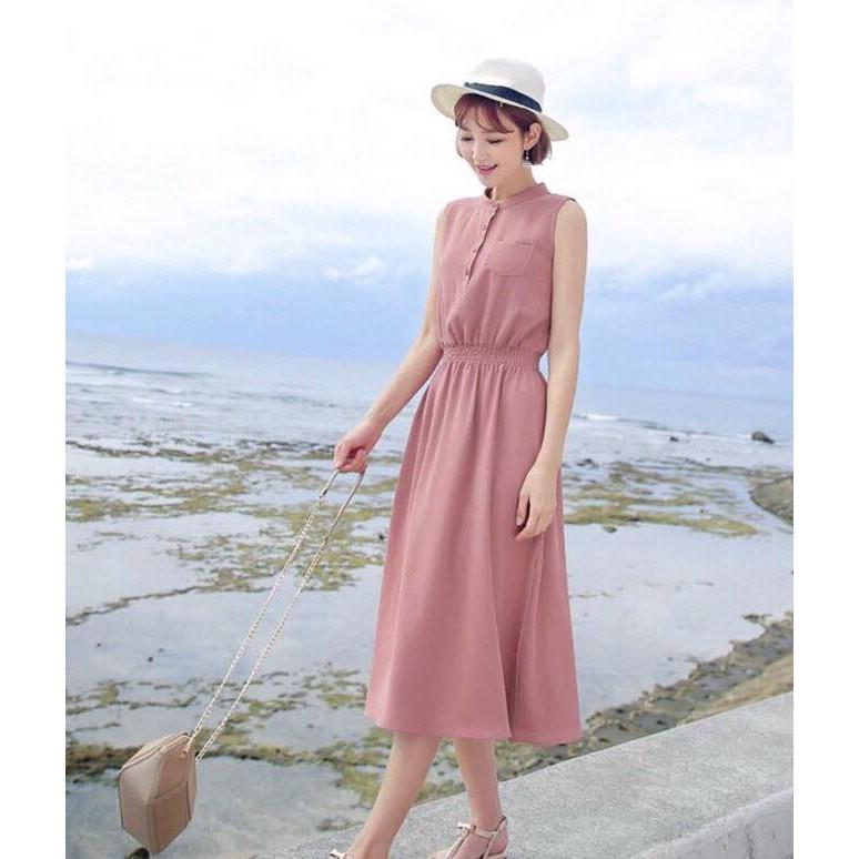 Đầm Maxi Trụ Nhún Eo Thun