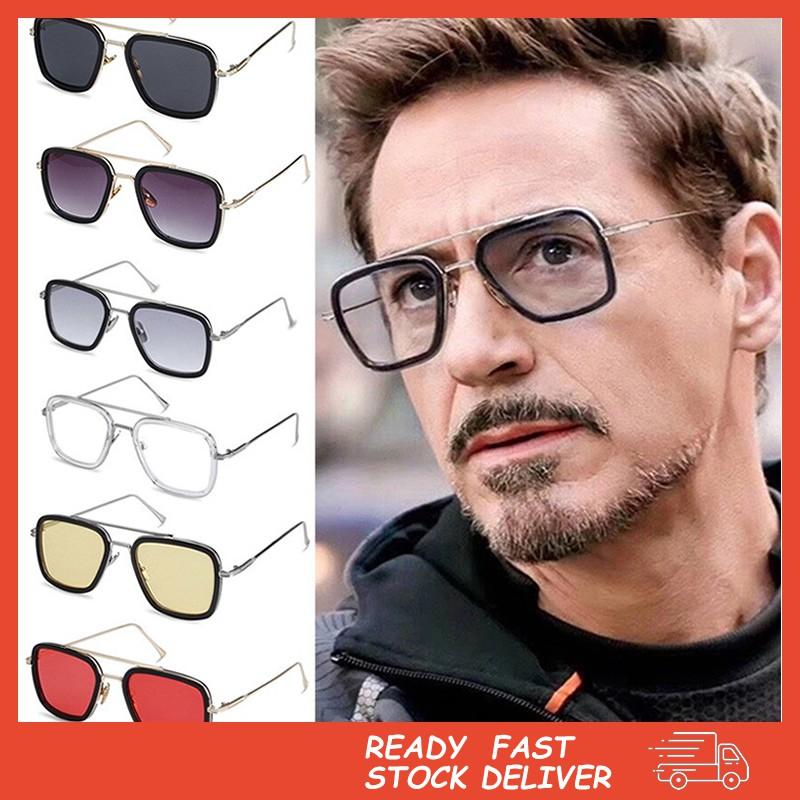 Kính mát hình chữ nhật cổ điển phong cách Siêu anh hùng Tony Stark Iron man thời trang cho nam