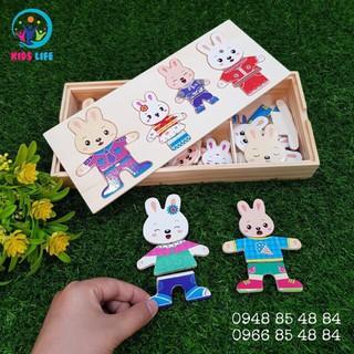 Đồ chơi gỗ – Ghép Hình Gia Đình Thỏ