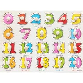Bảng ghép hình bằng gỗ bảng số đếm 0-20 cho bé yêu
