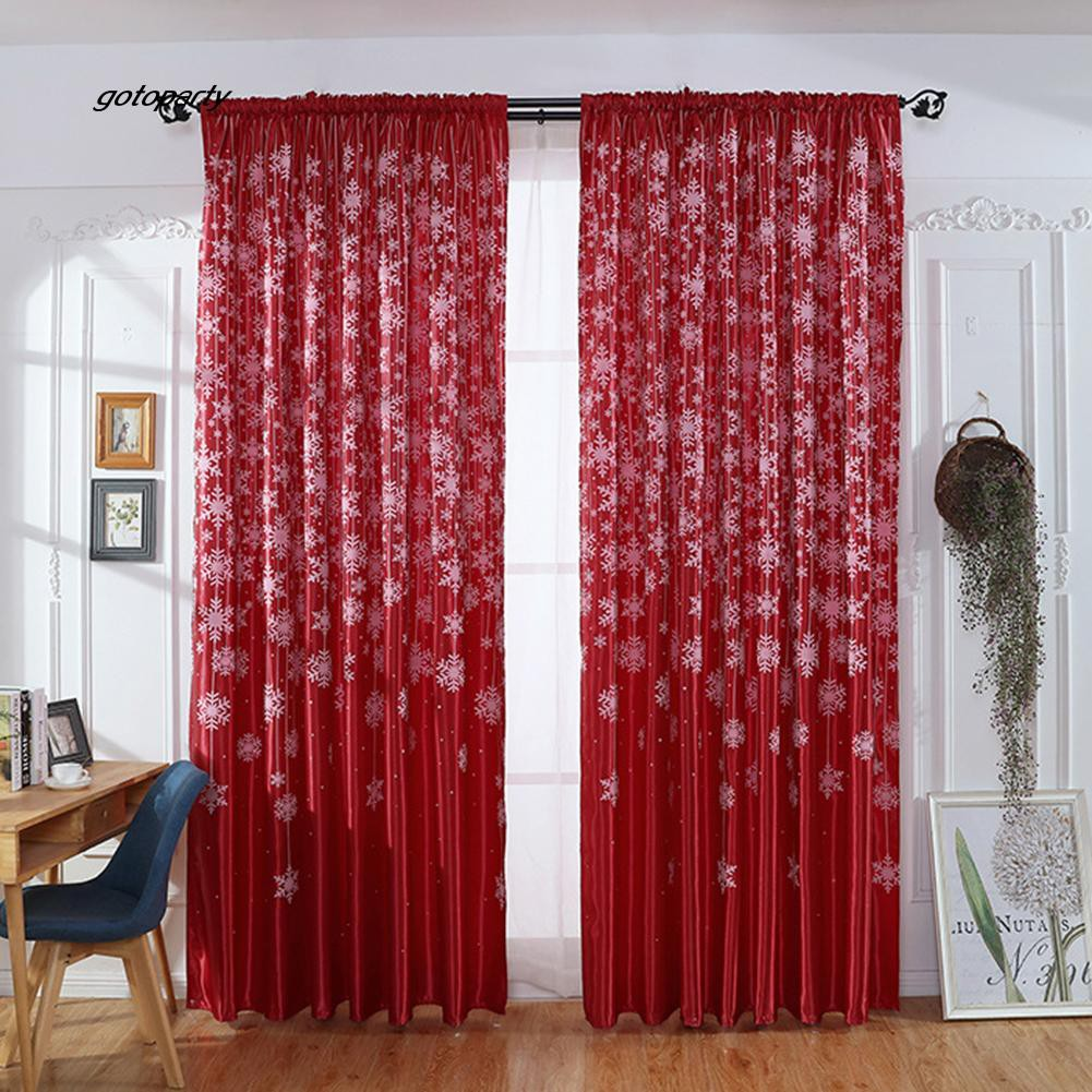GOTO_Living Room Bedroom Patio Hotel Snowflake Pattern Curtain Drape Window