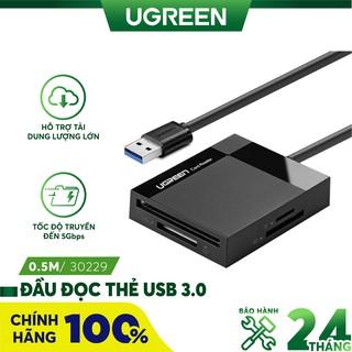 Đầu đọc thẻ USB 3.0 hỗ trợ thẻ TF/SD/CF/MS dài 0.5m chính hãng UGREEN 30229