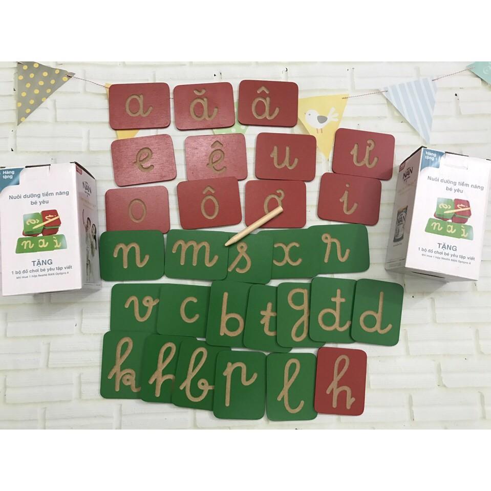 [RẺ NHẤT HÀ NỘI] Bộ thẻ học chữ cái tiếng Việt bằng gỗ Nan (Nestle) | HÀNG MỚI